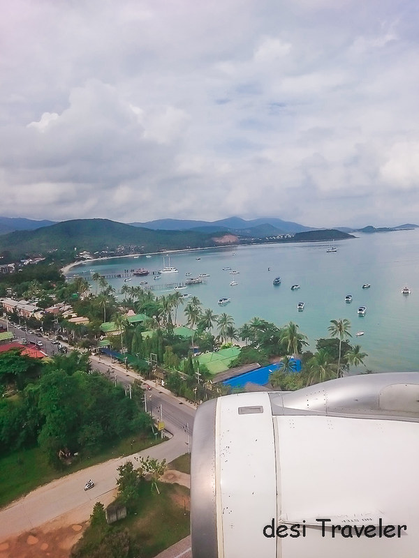 Boats seen from Jetplane at Koh Samui Island Thailand
