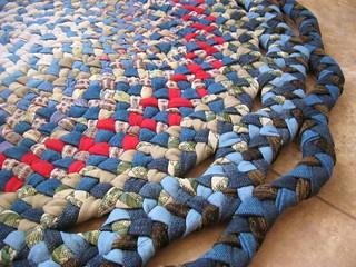 New Handmade Doily Denim Braided rug from recycled denims