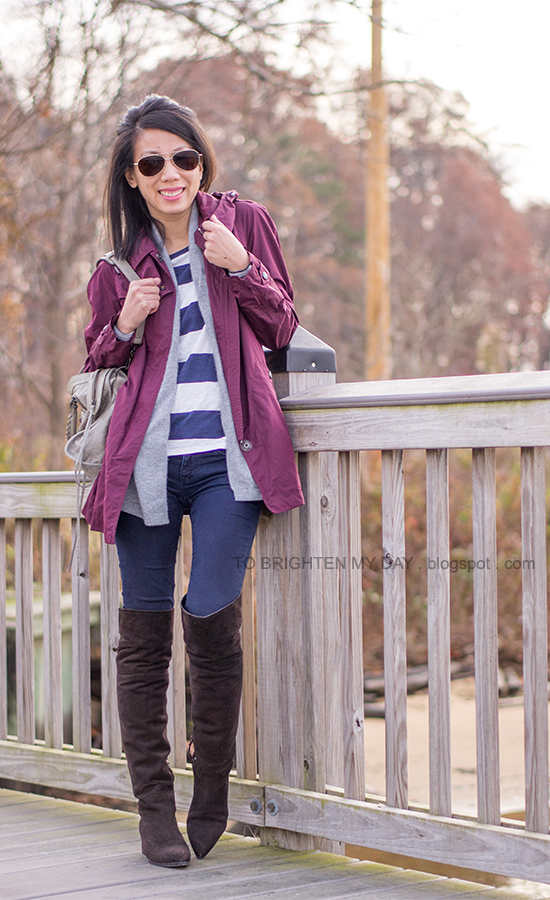 dark red jacket, gray open sweater, striped tee, brown suede over the knee boots