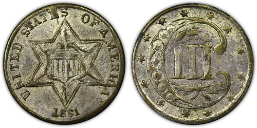 1861 Three Cent Silver Contemporary Counterfeit