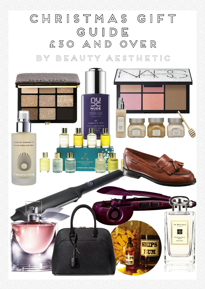 Christmas Gift Guide 2014: £30 and Over High End: NARS Virtual Domination Palette, Bobbi Brown Warm Glow Eye Palette, Nude Progenius Omega Oil, Laura Mericer, Babyliss Curl Secret, Lush Spa The Good Hour, Zara City Bag, Lancome La Vie Est Belle, GHD Curve Classic Wave, Aromatherapy Associates, Jo Malone Pomegranate Noir, Blythswood Square Hotel Afternoon Tea, Omorovicza Queen of Hungary Mist