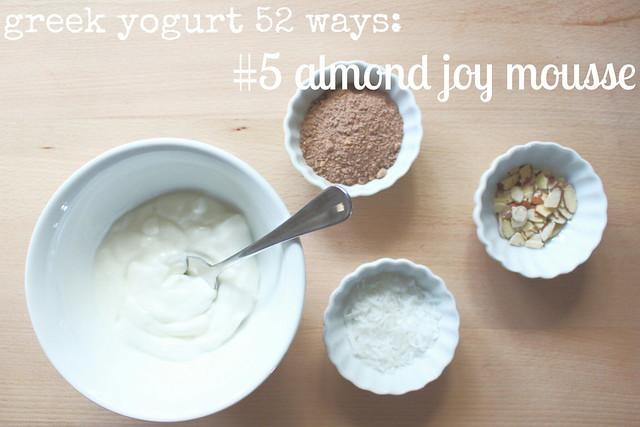 greek yogurt 52 ways: no. 5 almond joy mousse