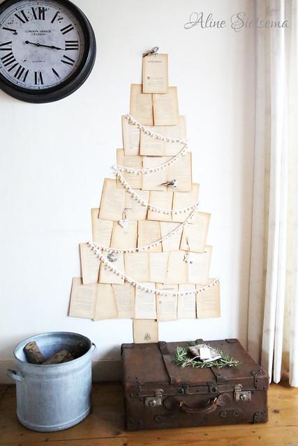 kerst diy kerstboom van oude bladzijden boek brocantepost