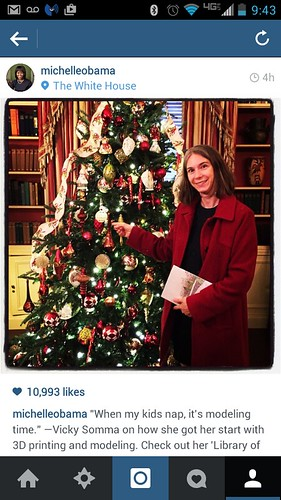Library of Congress Ornament and Vicky on Michelle Obama's Instagram