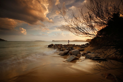sunset seascape water clouds sand rocks australia nsw oceanbeach ettalong umina nswcentralcoast nickfriend ettalongpoint