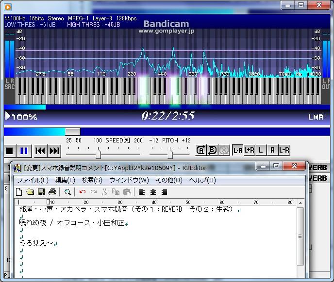 声の分析:倍音が基音を超えているとか横並びとか