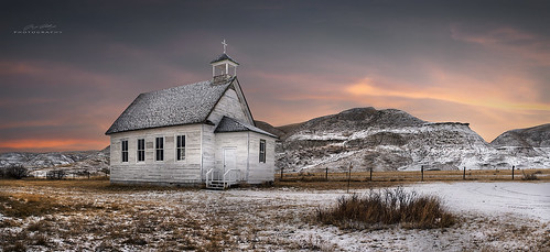 sunset snow canada church sony panoramic hills drumheller alberta a7r