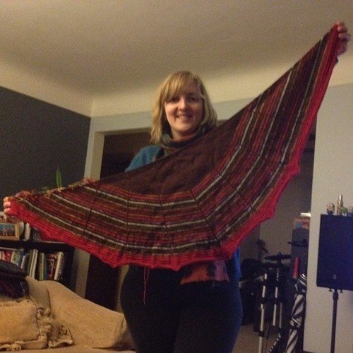 Just finished binding off one hundred million stitches and my hands ache but - worth it!