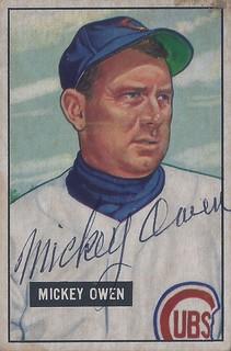 1951 Bowman - Mickey Owen #174 (Catcher) (b: 4 Apr 1916 - d: 13 Jul 2005 at age 89) - Autographed Baseball Card (Chicago Cubs)