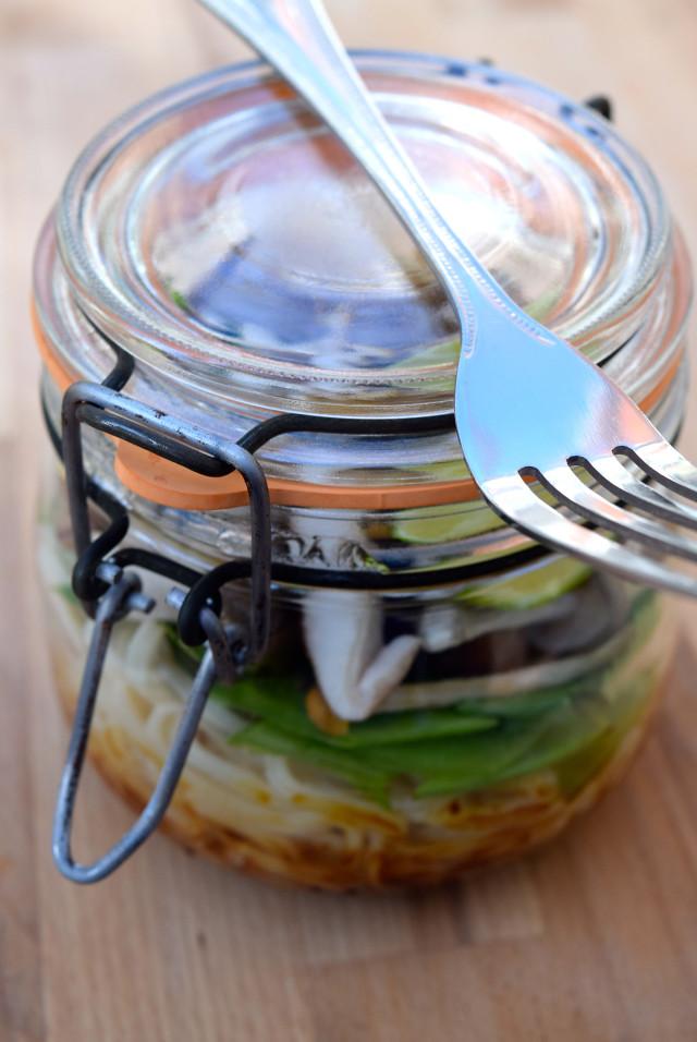 Homemade Mushroom Noodle Soup Jars