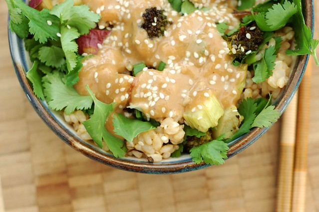Miso Roasted Broccoli & Sweet Potato Rice bowl by Eve Fox, the Garden of Eating, copyright 2015