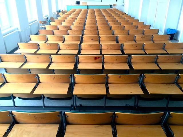 Pohled do učebny J340, Pedagogická fakulta, Jihočeská univerzita v Českých Budějovicích