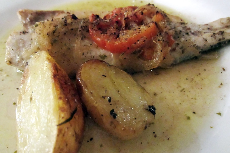 Sea bass in white wine sauce