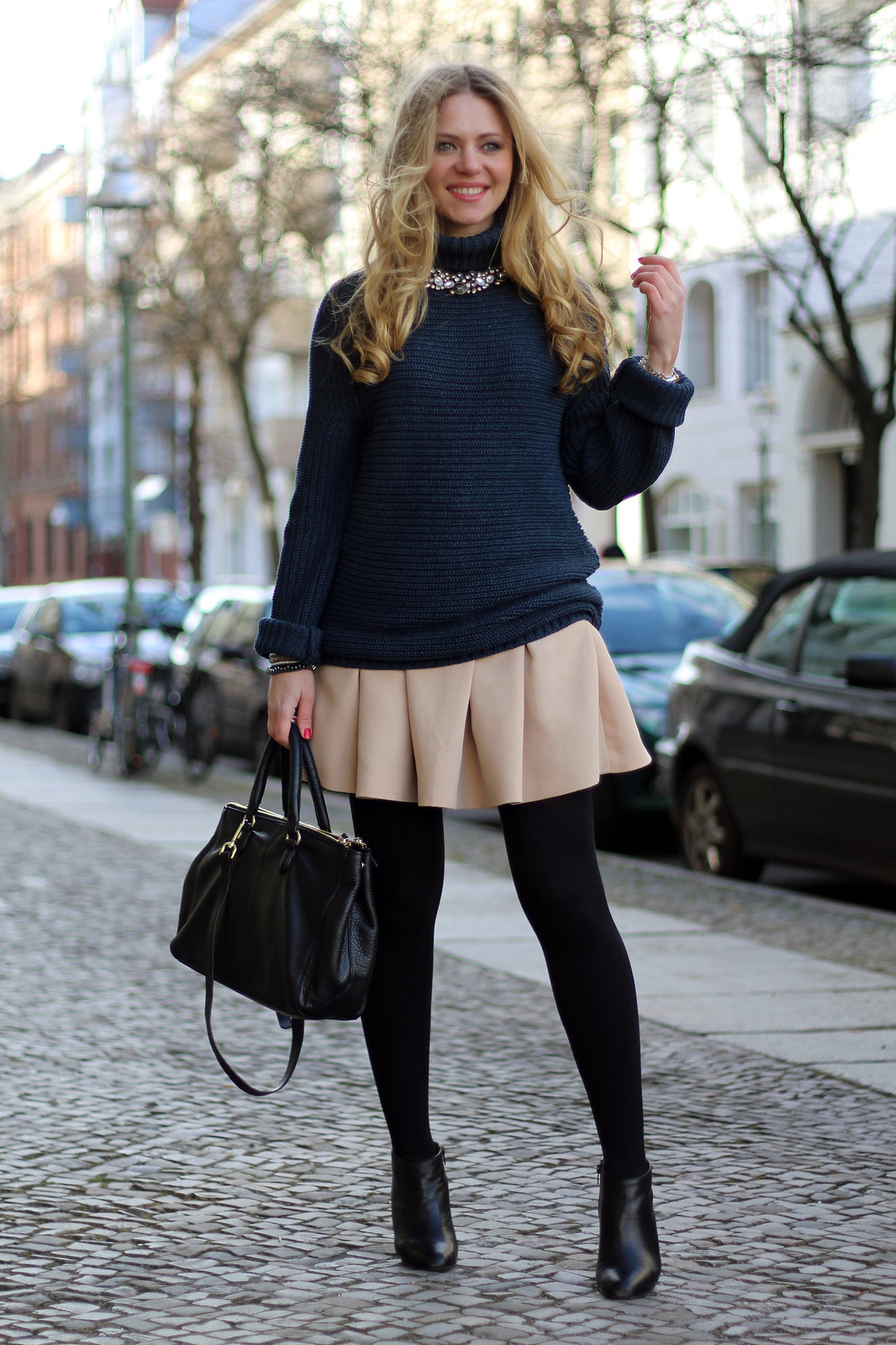 zara beige skirt and sweater