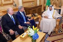 U.S. Secretary of State John Kerry and U.S. Ambassador to Saudi Arabia Joseph Westphal sit with King Salman of Saudi Arabia before a bilateral meeting on March 5, 2015, at Diriya Farm in Riyadh, Saudi Arabia. [State Department photo/ Public Domain]