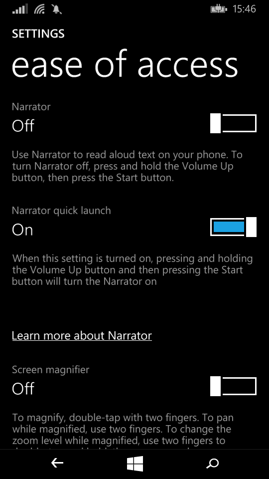 Ease of access narrator options