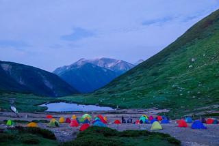 あの稜線を歩き右奥の笠ヶ岳へ@双六小屋キャンプ地