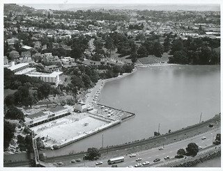 The Parnell Baths, Judges Bay, Waterfront Drive, from the air, Auckland.