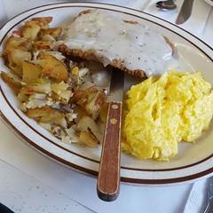 I am in breakfast heaven. The onions here taste like magic.