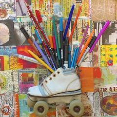 Fun at @atomicdc shooting for my blog post. #rollerskate #vintage #foundobjects #agencylife #atomiclife #pencils #art #favoritetchotchkes #tchotchkes #funstuff #thingsilike #alteredart #mixedmedia #roll #markers #artsupplies