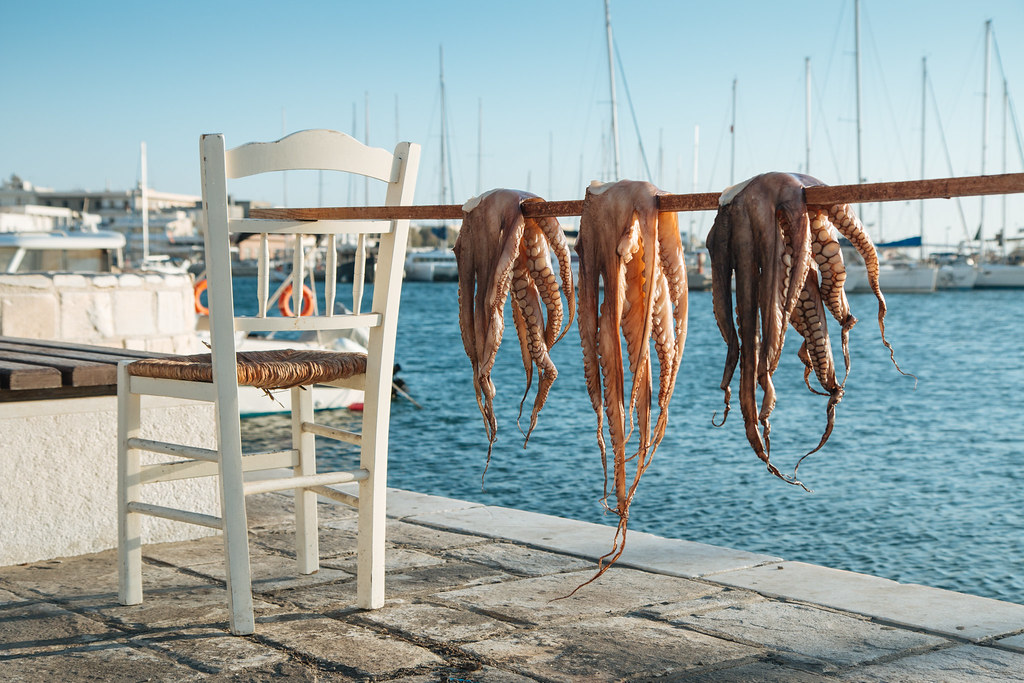Naxos: Octopus drying in the sun