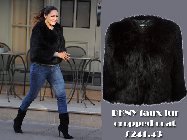 Kelly-Brook-in-DKNY-cropped-faux-fur-coat,faux fur coat,  DKNY cropped faux fur coat, fur coat, black faux fur cropped jacket, cropped fur jacket, black suede ankle boots, fluffy black jacket , cropped faux fur coat, Kelly Brook, Kelly Brook in DKNY cropped faux fur coat