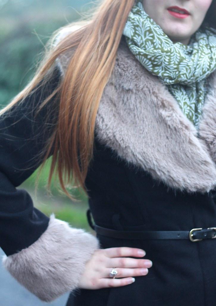 Fur cuffed coat