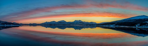 sunset red panorama snow reflection clouds nikon tromsø 1835 d600
