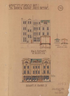 Elevation plans for a new building for Government Insurance Department, Rattray Street Dunedin, 1908