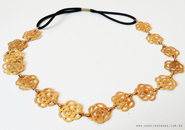 Tiara de Flores Dourada AliExpress