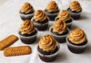 Dark chocolate cupcakes with speculoos cookie butter frosting