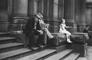 People on steps of the G.P.O., Melbourne