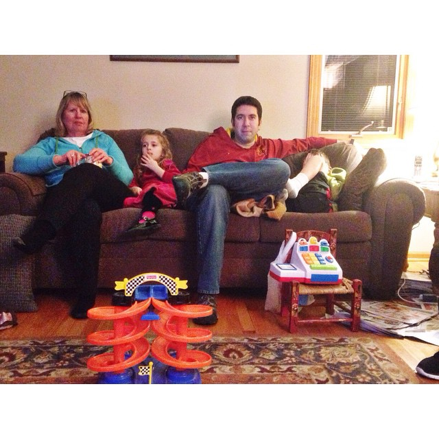 Last night. All lined up on the couch at grandmas #latergram