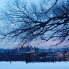 Snowy, dusky winter Brooklyn view