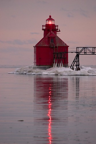 winter sunset lighthouse reflection ice lakemichigan greatlakes nikkor400mmf56edif sonyalpha7rilce7ra7r vacation2015winter