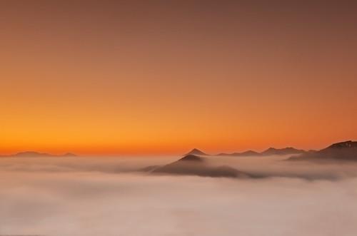 longexposure winter sunset italy orange mist color yellow fog clouds landscape carpet hills genoa genova neutraldensity nd1000 cloudsstormssunsetssunrises