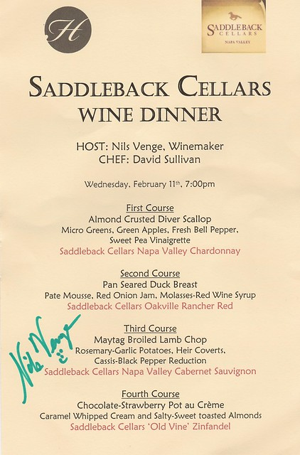 Saddleback Winemaker Dinner