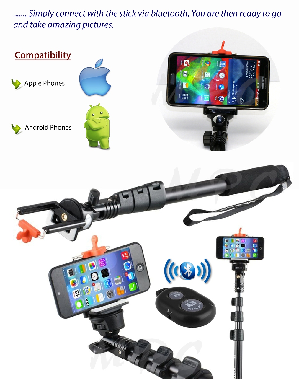 selfie stick heavy duty monopod bluetooth wireless remote for iphone 6s 6s. Black Bedroom Furniture Sets. Home Design Ideas