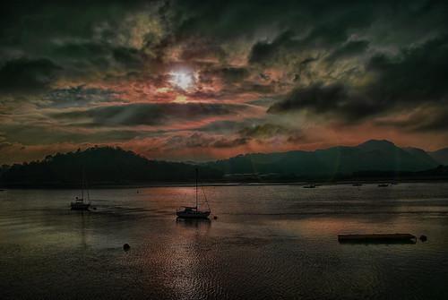 sunset lake silhouette wales rural photoshop sunrise landscape boat marine nik aquatic llandudno conwy topaz