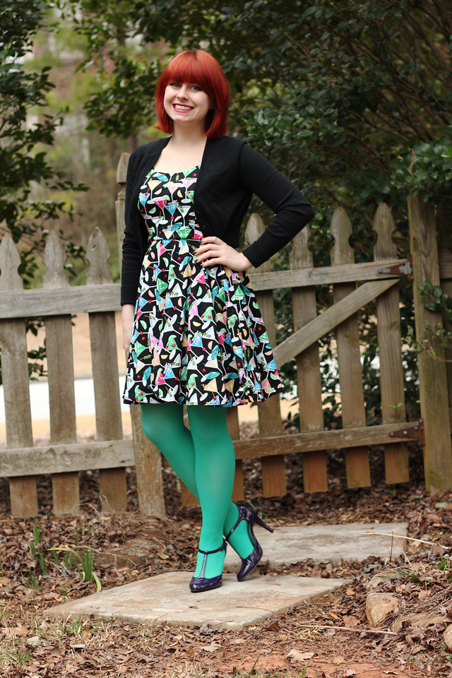 Martini Novelty Print Retro Style Dress, Black Cropped Cardigan, Mint Green Tights, and Purple T-strap Heels