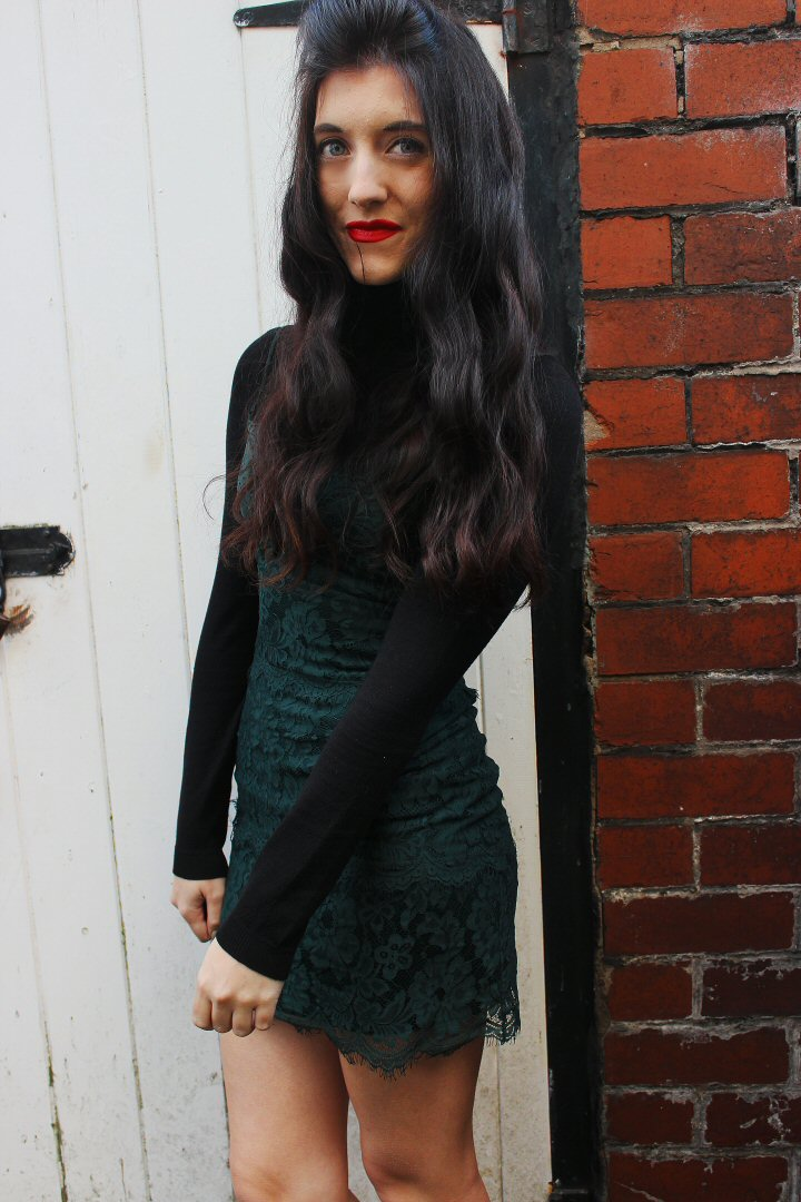 green lace slip dress