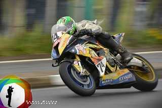Racing Laurent Hoffmann on his Ice Valley BMW at the NW200 road race 2014 Portrush Portstewart Coleraine, N Ireland
