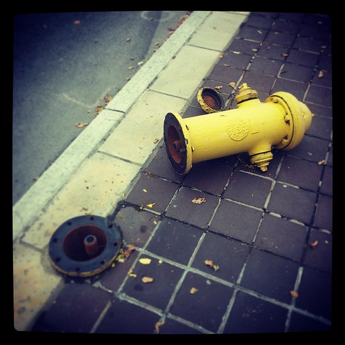 What happened to this poor fire hydrant at Fifth and Broadway?