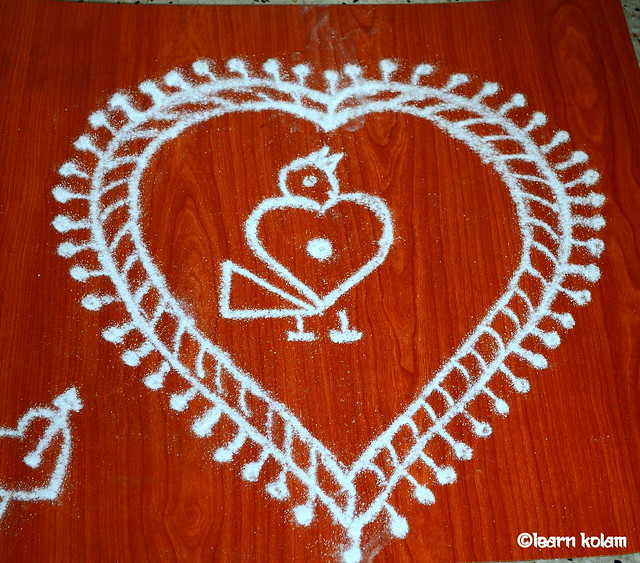 Heart shaped Rangoli designs