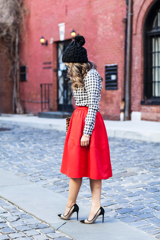 Express red skirt plaid shirt Banana republic clare vivier leopard clutch piperlime kurt geiger Sharkie heels lord and taylor what to wear during the holiday season fashion blogger full red skirt Nordstrom sunglasses