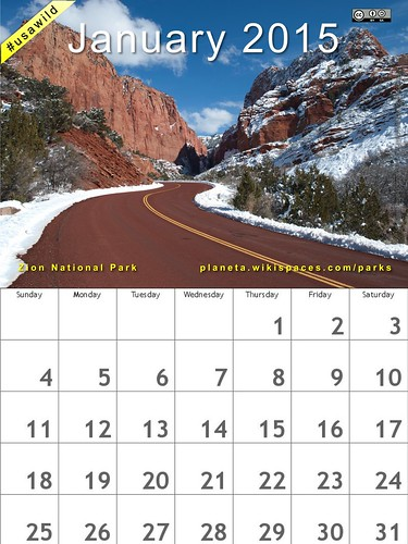 January 2015 National Parks Calendar: Zion #usawild (attribution-sharealike license) @ZionNPS