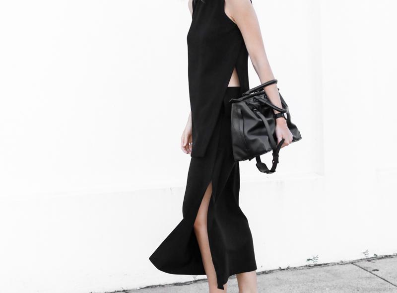 modern legacy, fashion blog, street style, all black, split skirt, Alexander Wang, tote, bag (1 of 1)