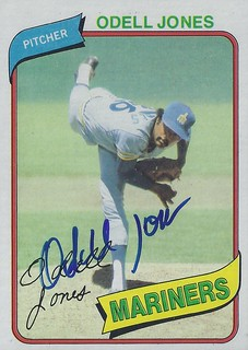 1980 Topps - Odell Jones #342 (Pitcher) - Autographed Baseball Card (Seattle Mariners)