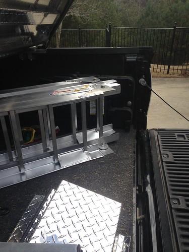 Heavy-Duty Aluminum Ramps In Ford Raptor Cargo Box