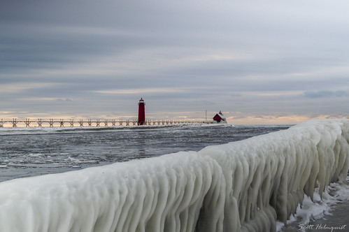 winter sunset lighthouse ice nature water pier michigan mothernature grandhaven puremichigan
